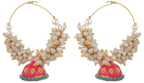Kshitij Jewels Pink Metal Jhumki Earrings for Women (KJS064)