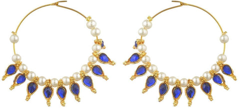 Kshitij Jewels Blue Metal Hoop Earrings for Women (KJS110)
