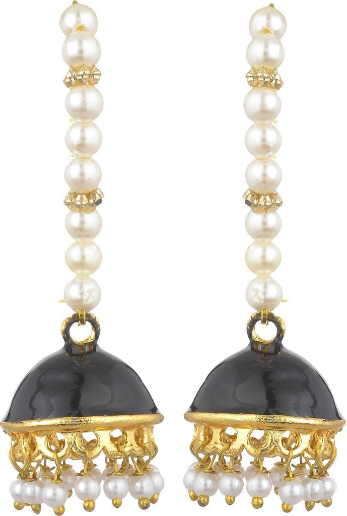 Kshitij Jewels Black Metal Jhumki Earrings for Women (KJS138)