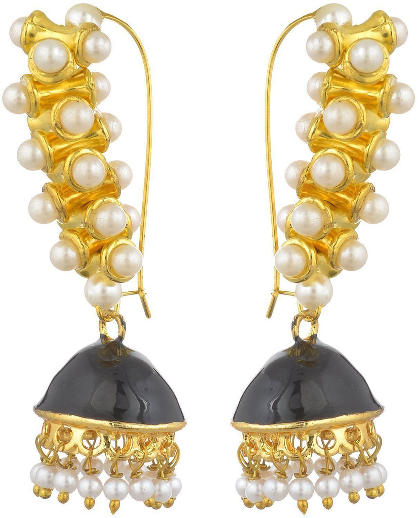 Kshitij Jewels Black Metal Jhumki Earrings for Women (KJS143)