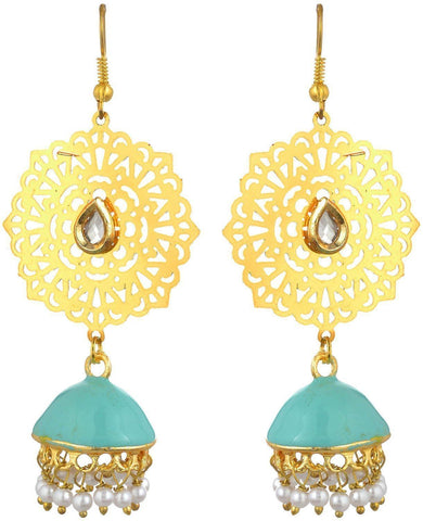 Kshitij Jewels Blue Metal Jhumki Earrings for Women (KJS148)