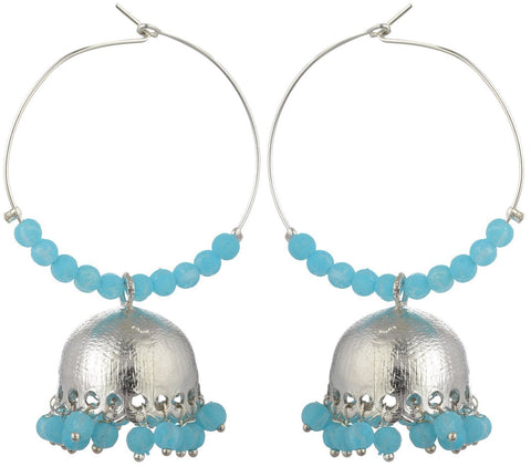 Kshitij Jewels Blue Metal Jhumki Earrings for Women (KJS166)