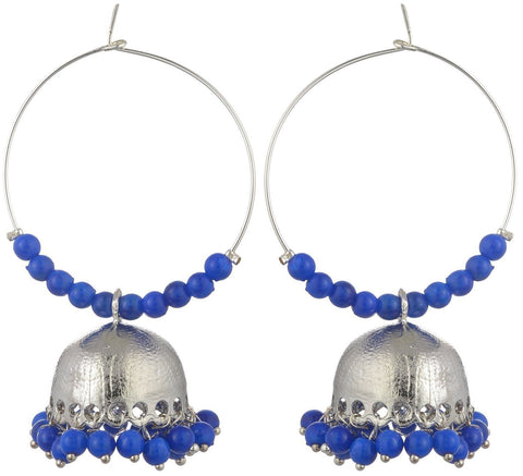 Kshitij Jewels Blue Metal Jhumki Earrings for Women (KJS168)