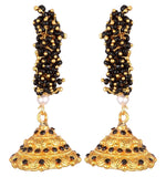 KSHITIJ JEWELS Black Alloy Jhumki Earrings for Women (KJS172)