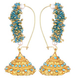 KSHITIJ JEWELS Blue Alloy Jhumki Earrings for Women (KJS176)