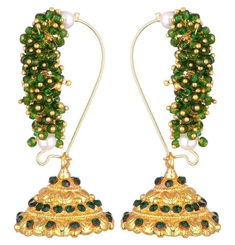 KSHITIJ JEWELS Green Alloy Jhumki Earrings for Women (KJS178)
