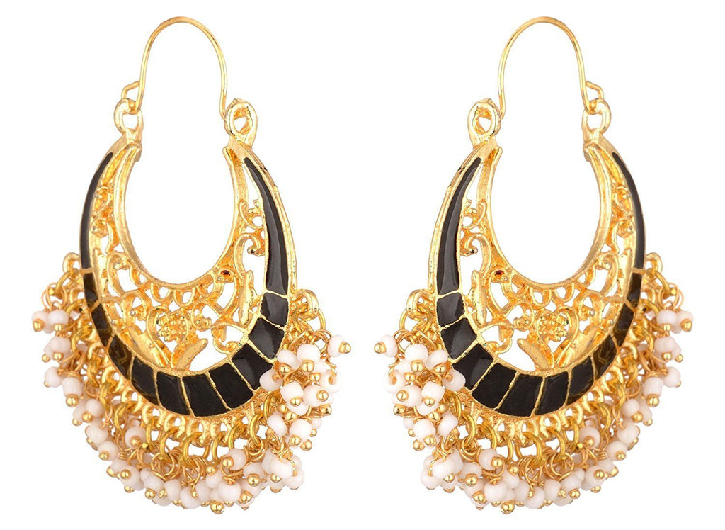 KSHITIJ JEWELS Black Alloy Hoop Earrings for Women (KJS179)