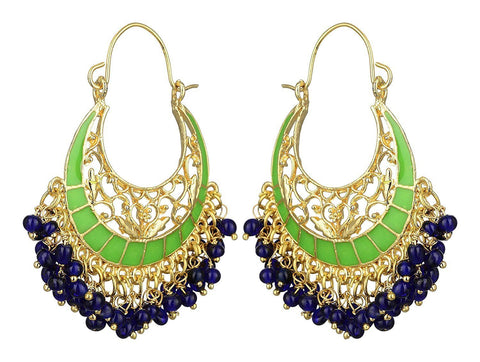 KSHITIJ JEWELS Green Alloy Hoop Earrings for Women (KJS184)