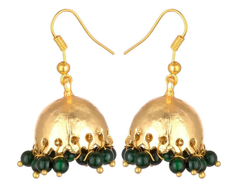 KSHITIJ JEWELS Green Alloy Jhumki Earrings for Women (KJS200)