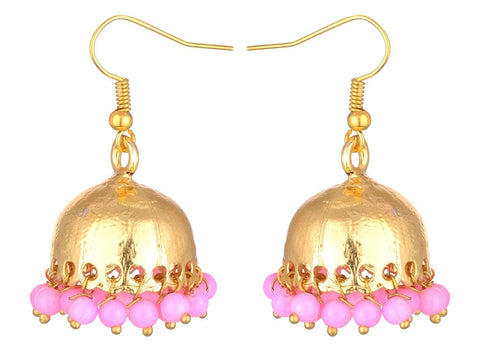 KSHITIJ JEWELS Pink Alloy Jhumki Earrings for Women (KJS203)