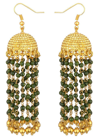 KSHITIJ JEWELS Green Alloy Jhumki Earrings for Women (KJS208)