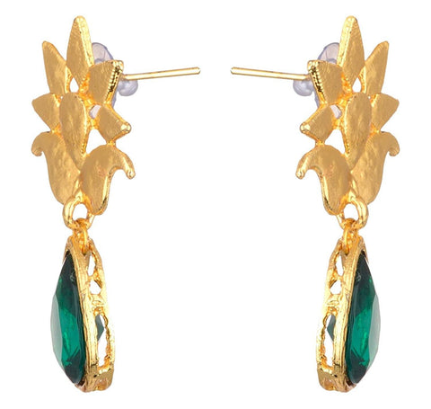 KSHITIJ JEWELS Green Alloy Dangle & Drop Earrings for Women (KJS210)