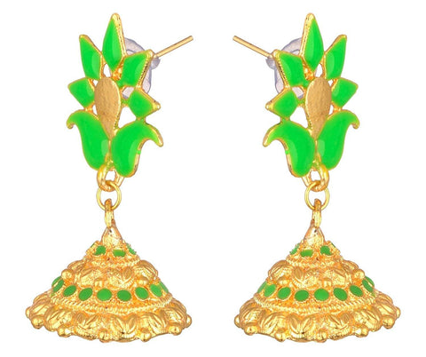 KSHITIJ JEWELS Green Alloy Jhumki Earrings for Women (KJS216)