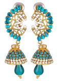 KSHITIJ JEWELS Blue Alloy Jhumki Earrings for Women (KJS219)