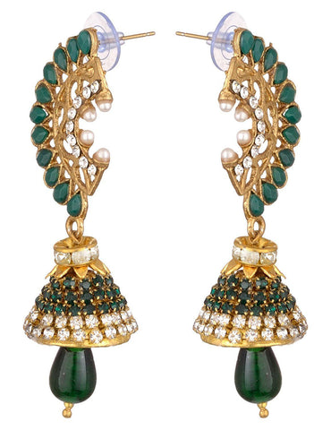 KSHITIJ JEWELS Green Alloy Jhumki Earrings for Women (KJS221)