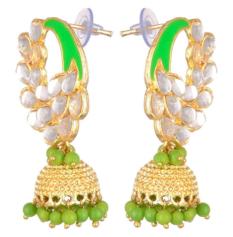 KSHITIJ JEWELS Green Alloy Jhumki Earrings for Women (KJS225)