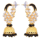 KSHITIJ JEWELS Black Alloy Jhumki Earrings for Women (KJS226)
