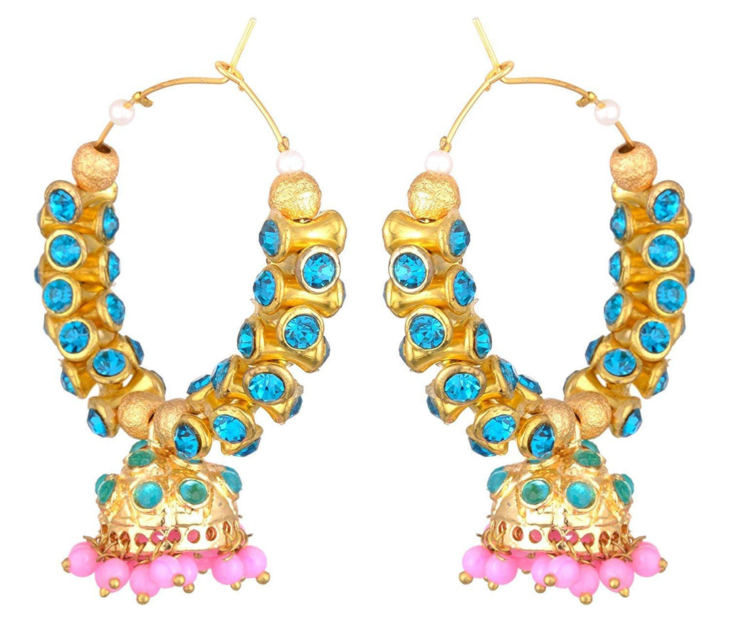 KSHITIJ JEWELS Blue Alloy Jhumki Earrings for Women (KJS236)