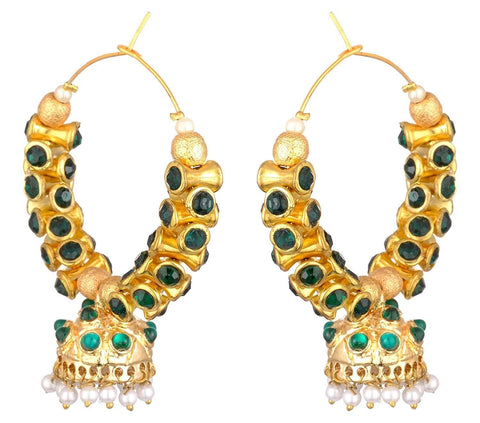 KSHITIJ JEWELS Green Alloy Jhumki Earrings for Women (KJS237)