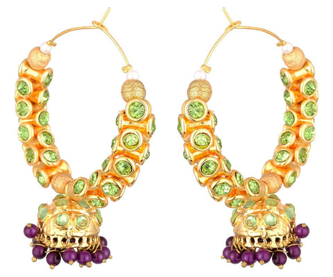 KSHITIJ JEWELS Green Alloy Jhumki Earrings for Women (KJS238)