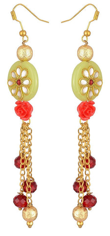 KSHITIJ JEWELS Green Alloy Dangle & Drop Earrings for Women (KJS251)
