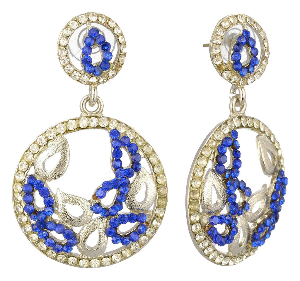 Kshitij Jewels Blue Alloy Dangle & Drop Earrings for Women (KJS278)