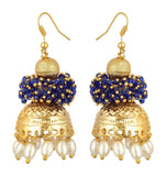Kshitij Jewels Blue Alloy Jhumki Earrings for Women (KJS300)
