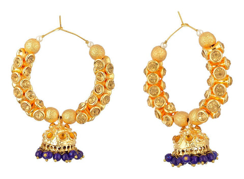 Kshitij Jewels Gold Alloy Hoop Earrings for Women (KJS333)