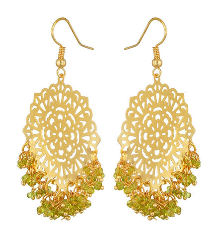 Kshitij Jewels Green Alloy Dangle & Drop Earrings for Women (KJS344)
