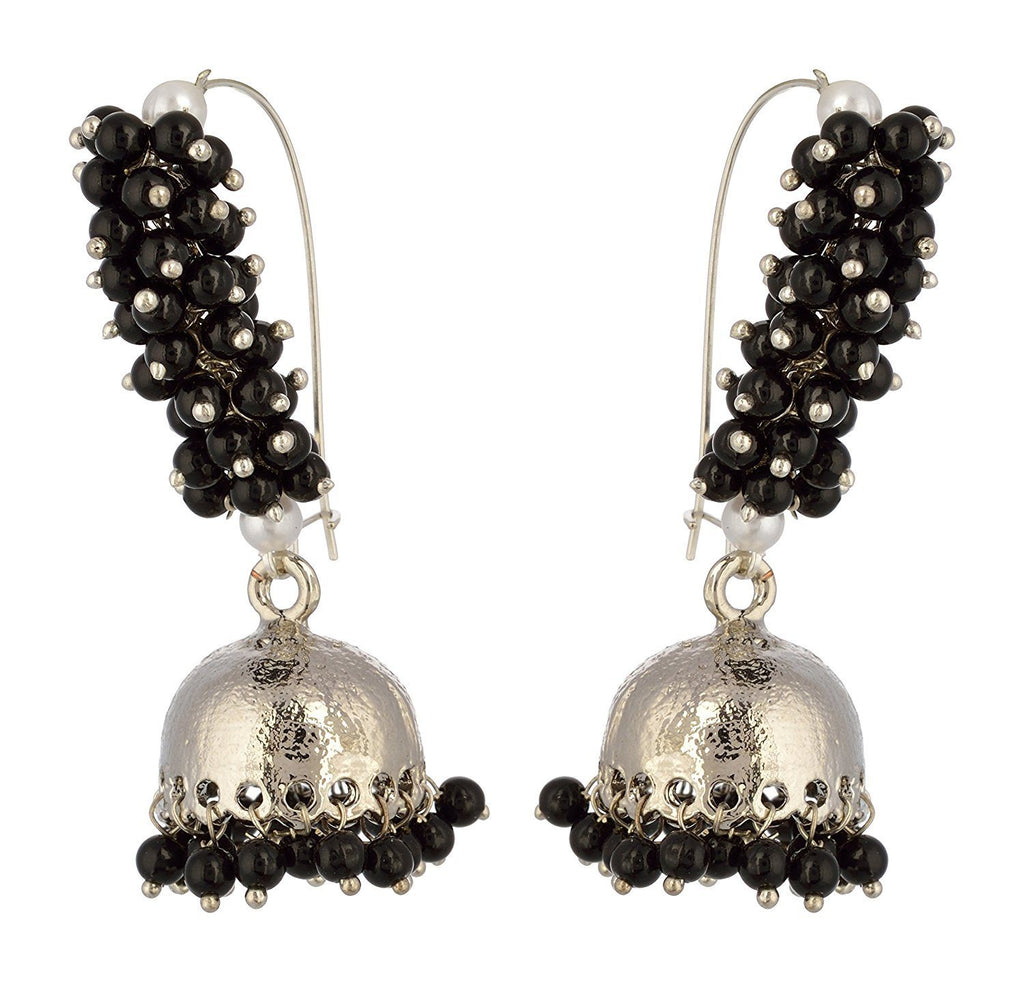 Kshitij Jewels Black Alloy Jhumki Earrings for Women (KJS354)