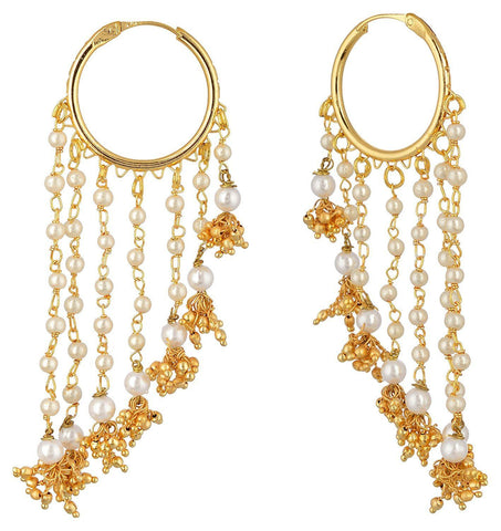 Kshitij Jewels Gold Alloy Hoop Earrings for Women (KJS355)