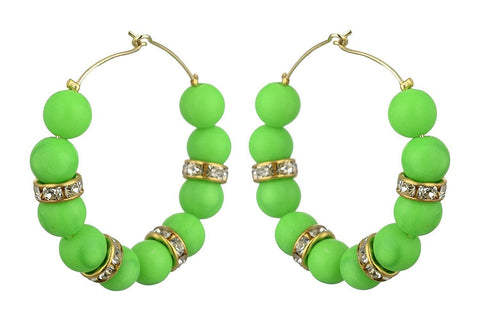 Kshitij Jewels Green Alloy Hoop Earrings for Women (KJS360)