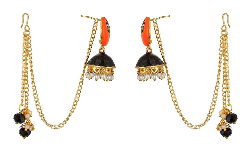 Kshitij Jewels Black Alloy Jhumki Earrings for Women (KJS362)