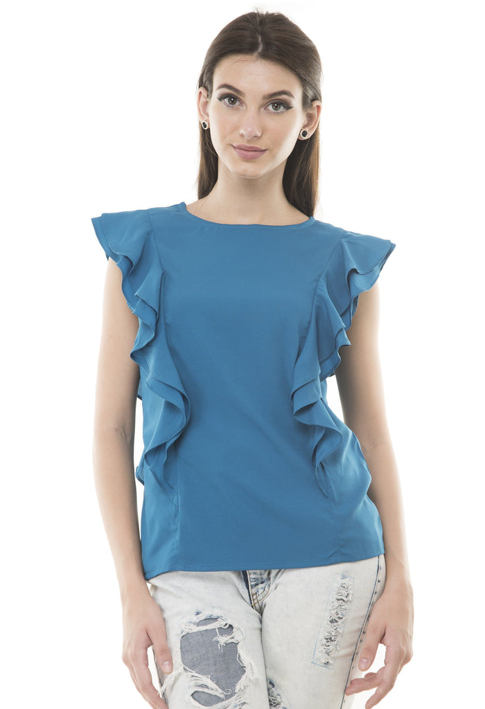Blue Solid Crepe Top
