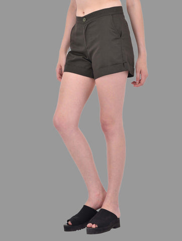 Khaki Cotton Twill Shorts