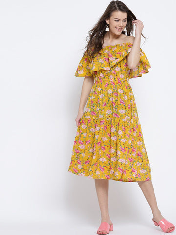 Sera Women Yellow & Pink Printed Off-Shoulder Midi Fit & Flare Dress