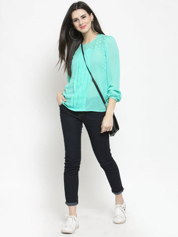 Sera Women Green Self Design Top
