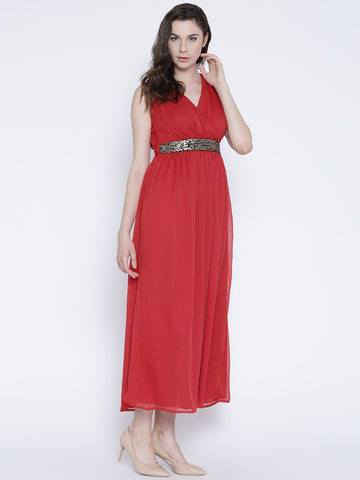 Sera Women Red Sequinned Maxi Dress
