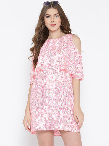 Sera Women Pink & White Printed A-Line Dress
