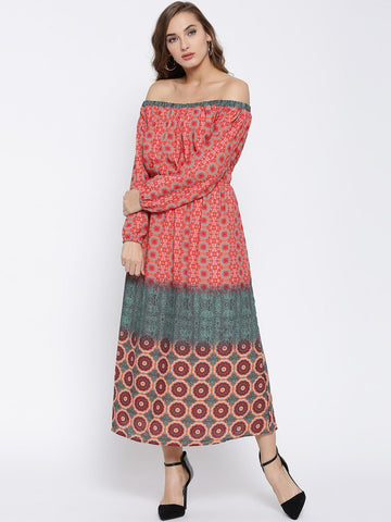 Sera Women Coral Pink & Green Printed Fit & Flare Midi Dress