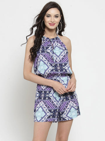 Sera Women Purple & White Printed Playsuit