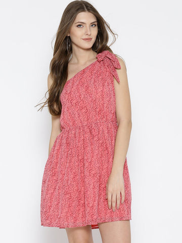 Sera Women Pink Printed One-Shoulder Dress