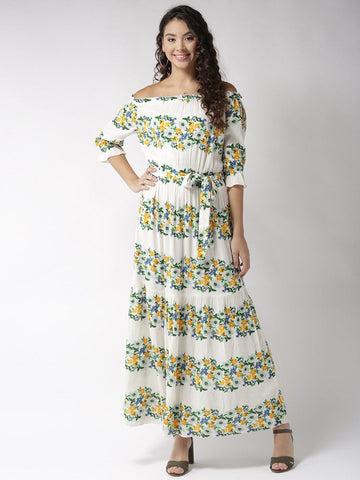Sera Women Off-White & Green Printed Maxi Dress