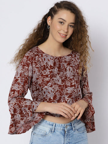 Sera Women Brown Printed Top