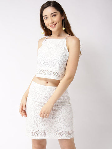 Sera Women White Self-Design Two-Piece Dress