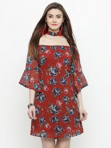 Sera Women Red Printed A-Line Dress