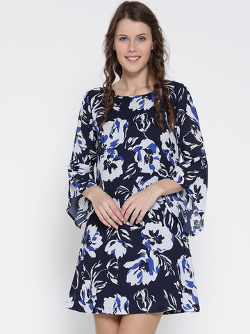 Sera Women Navy Blue & White Floral Print A-Line Dress