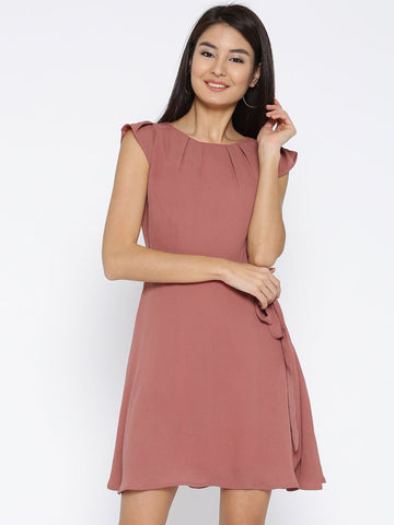 Sera Women Dusty Pink Solid Fit and Flare Dress