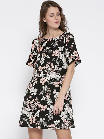 Sera Women Black & Off-White Printed A-Line Dress