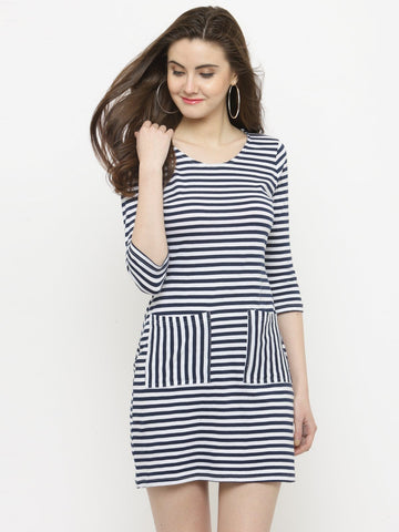 Sera Women Blue Striped Sheath Dress